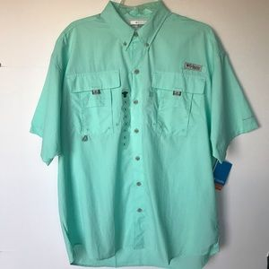 NWT Columbia Light Green Bahama Short Sleeve Shirt